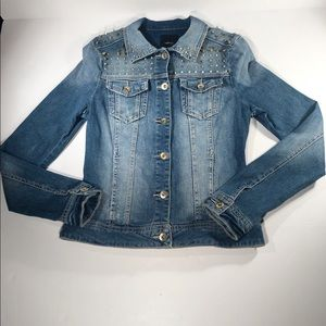 Forever 21 Women's Spike Studded Denim Jacket
